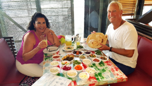 Brian and I having a crazy great lunch in Jaffa Israel